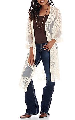Favlux Fashion Women's Cream Lace Duster