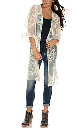Favlux Women's Cream Medallion Lace 3/4 Sleeve Kimono