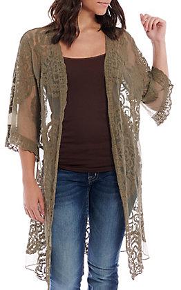 Favlux Fashion Women's Olive Lace Kimono