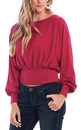 Favlux Fashion Women's Fuchsia Puff Sleeve Fashion Top