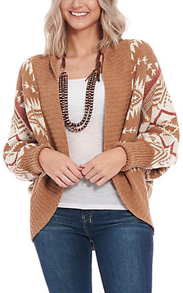 Favlux Fashion Women's Tan Aztec Sweater Cardigan
