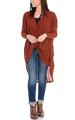 Favlux Women's Rust Criss Cross Front Hi-Lo Long Dolman Sleeves Fashion Top