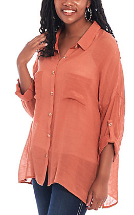 Favlux Women's Solid Rust Long Sleeve Button Up Fashion Top