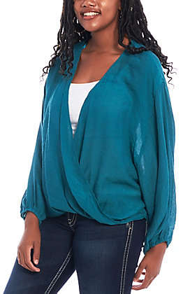 Favlux Women's Solid Teal Green Surplus Long Sleeve Fashion Top