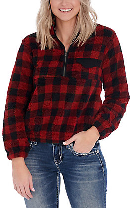 Favlux Women's Red and Black Buffalo Plaid Sherpa Half Zip Pullover