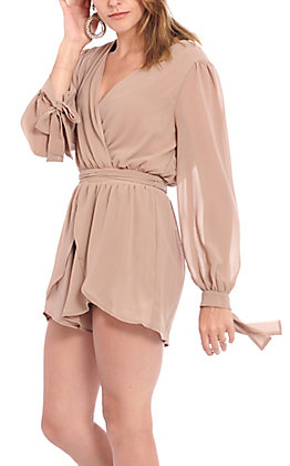Favlux Fashion Women's Taupe Sheer Romper