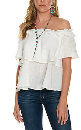 Favlux Women's White Tiered Off the Shoulder Short Sleeve Fashion Top