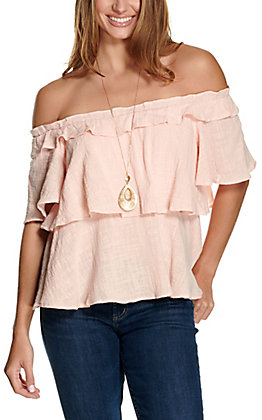 Favlux Women's Peach Tiered Off the Shoulder Short Sleeve Fashion Top
