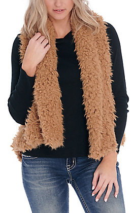 Favlux Women's Brown Sugar Fuzzy Vest