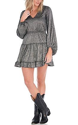 Favlux Women's Black Glitz Glittery Long Sleeve Dress