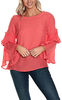 Favlux Women's Coral with Long Ruffle Bell Sleeves Fashion Top