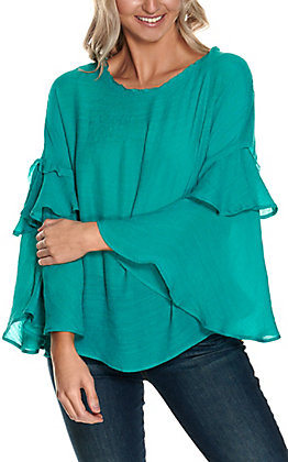 Favlux Women's Teal with Long Ruffle Bell Sleeves Fashion Top