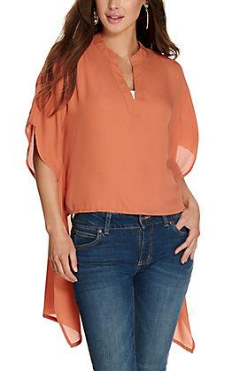 Favlux Women's Caramel V-Neck Hi-Lo Short Sleeve Fashion Top