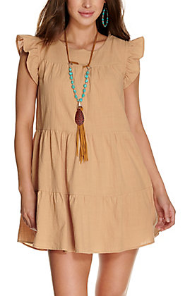 Favlux Women's Taupe Tiered with Ruffle Short Sleeve Dress