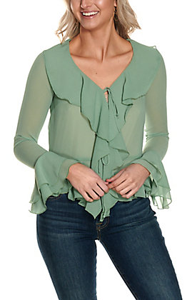 Favlux Women's Mineral Green Ruffle Long Sleeve Fashion Top