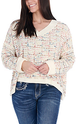Favlux Women's Cream with Multi-Colors and Shimmer Long Sleeve Oversized Sweater