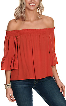 Favlux Women's Rust 3/4 Sleeve Off the Shoulder Fashion Top
