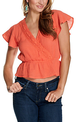 Favlux Women's Coral with Crochet Trim V-Neck Short Sleeve Fashion Top