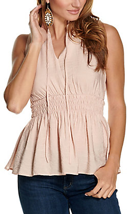 Favlux Women's Blush Smocked Waist Sleeveless Fashion Top