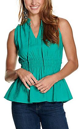 Favlux Women's Emerald Smocked Waist Sleeveless Fashion Top