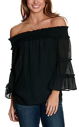 Favlux Women's Black Off the Shoulder Tiered Sleeves Fashion Top