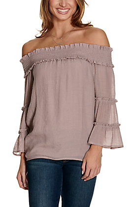 Favlux Women's Dark Mauve Off the Shoulder Tiered Sleeves Fashion Top