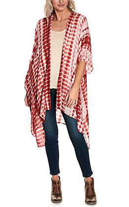 Favlux Women's Rust Tie Dye Short Sleeve Kimono