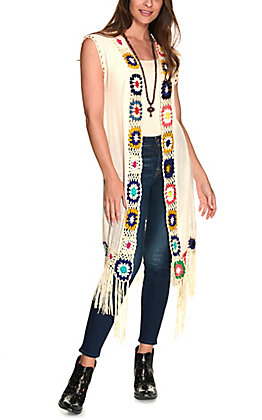 Favlux Women's Cream with Multi Colored Crochet Fringe Vest