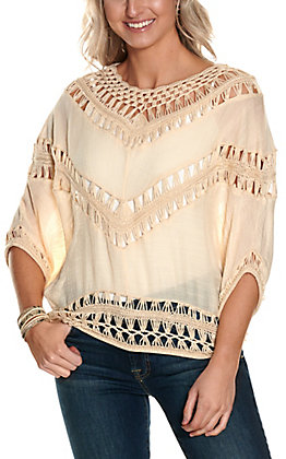 Favlux Women's Cream with Crochet Panels 3/4 Sleeves Fashion Top