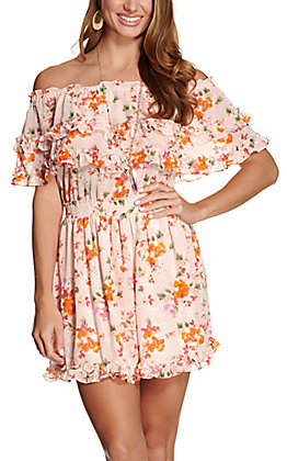 Favlux Women's Light Pink Floral Print with Ruffle Off the Shoulder Dress
