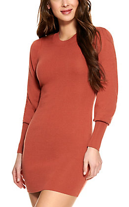 HYFVE Women's Rust Long Sleeve Sweater Dress