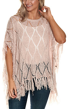 Favlux Women's Light Pink Diamond Crochet Knit with Fringe Poncho Fashion Top