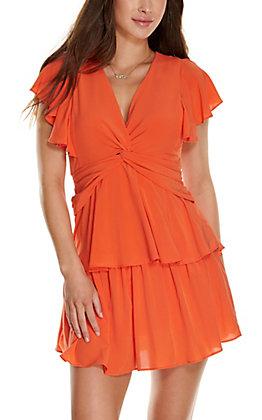 Favlux Women's Red Orange Tiered V-Neck Short Flutter Sleeves Dress