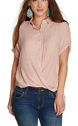 Favlux Women's Blush Button Surplice Front Dolman Short Sleeves Fashion Top