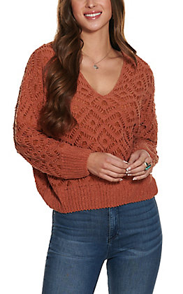 HYFVE Women's Caramel Crochet Long Sleeve Sweater
