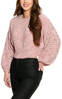 HYFVE Women's Mauve Long Sleeve Cropped Chenille Sweater