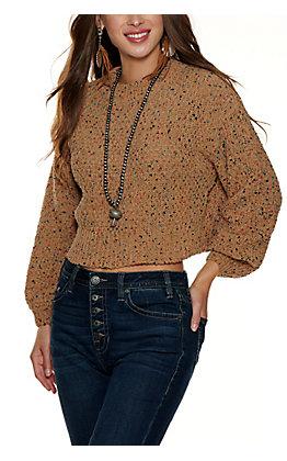 HYFYE Woman's Camel Multi Color Sweater