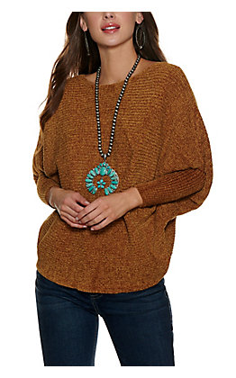 HYFVE Women's Amber Gold Chenille Long Dolman Sleeve Sweater