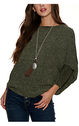 HYFVE Women's Olive Chenille Long Dolman Sleeve Sweater