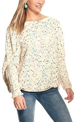 HYFVE Women's Cream Speckled Long Sleeve Sweater