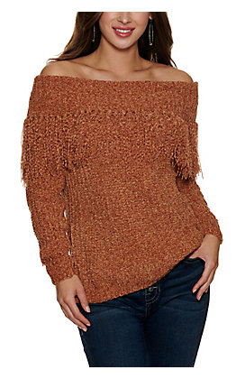 HYFVE Women's Camel Chenille with Off the Shoulder Fringe Long Sleeve Sweater