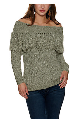 HYFVE Women's Olive Chenille with Off the Shoulder Fringe Long Sleeve Sweater