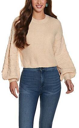 HYFVE Women's Cream Cropped Long Balloon Sleeve Sweater