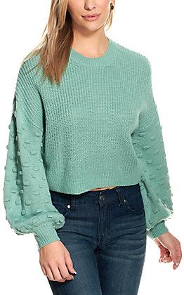 HYFVE Womens Jade Pompom Bubble Sleeve Sweater