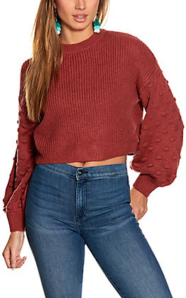 HYFVE Women's Merlot Cropped Long Balloon Sleeve Sweater
