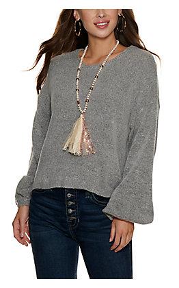 HYFVE Women's Heather Grey Long Sleeve Sweater