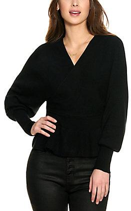 HYFVE Women's Black Peplum Long Sleeve Sweater
