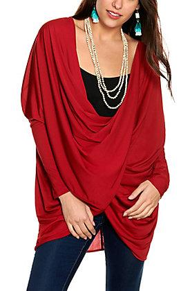 Favlux Women's Wine Draped Twist Front Long Sleeve Knit Top