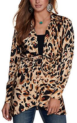 HYFVE Women's Brown Leopard Print Deep V-Neck Long Sleeve Button Down Fashion Top