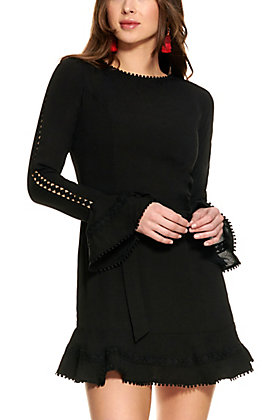 HYFVE Women's Black Tie Front Long Sleeve Dress
